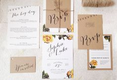 Bright Botanics Wedding Invitation. Our earthy and natural 'Bright Botanics' wedding invitations are ready to be personalised with your details.