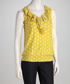 Yellow Polka Dot Ruffle Top | Daily deals for moms, babies and kids