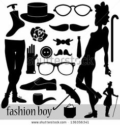 Fashion elements for boys set by paw, via Shutterstock