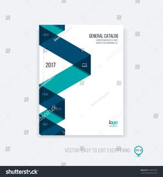 Brochure template layout, cover design annual report, magazine, flyer booklet in A4 with blue green dynamic triangular geometric shapes and folding stripe ribbon. Business vector flat style.