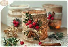 Cute idea for Christmas candles Simple Christmas, Handmade Christmas, Christmas Holidays, Christmas 2017, Christmas Projects, Holiday Crafts, Natal Country, Christmas Candles, Christmas Ornaments