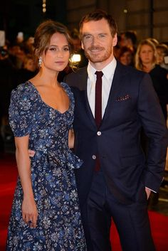 Alicia Vikander a Michael Fassbender na londýnské premiéře filmu The Light Between Oceans