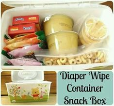 Diaper wipe box made into snack box