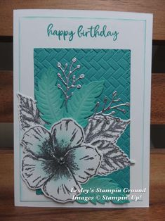 Hi everyone, I'm using the gorgeous Timeless Tropical stamp set ( again today. I stamped the Hibiscus and leaves with VersaMark ( Flower Stamp, Flower Cards, Hibiscus, Horse Cards, Cool Cards, Diy Cards, Birthday Cards For Women, Stamping Up Cards, Creative Cards
