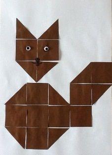 * Eekhoorn! Vouw een vouwblaadje van het formaat 16 x 16 in 16 vierkantjes. Knip de vierkantjes uit en leg een voorbeeld na.