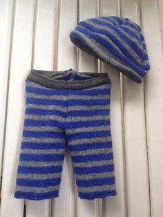 Newborn upcycled blue gray striped merino wool longies by Jamnee, $17.00