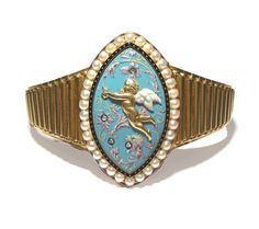 An Enamel and Gem-set Bracelet by Carlo Giuliano A graduated gold bracelet centred by an enamel lozenge decorated with a raised gold cupid i...