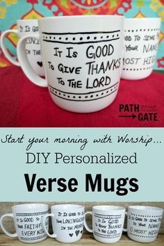 Start your morning off right - with a reminder to worship God for His goodness from these DIY Personalized Coffee Mugs. Start your morning off right - with a reminder to worship God for His goodness from these DIY Personalized Coffee Mugs. Diy Mugs, Personalized Coffee Mugs, Personalized Gifts, Craft Gifts, Diy Gifts, Sharpie Crafts, Sharpie Mugs, Scripture Verses, Bible