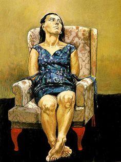 Sentada , 1994 (Série Mulher-Cão) - Uma mulher sentada à espera de algo, este algo pode ser o acompanhante ausente ou imaginário o que acaba por transformar esta mulher num cão pois está à espera do seu dono.