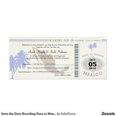 Save the Date Boarding Pass to Mexico Card Your guests will love to receive this fun Boarding pass wedding save the date! THE BACKGROUND COLOR WILL BE PRINTED IN A LIGHT SAND COLOR. Graphics are in Light Lilac and Champagne. If the color scheme is not what you wanted please let me know and I'll recreate that for you. paula@labellarue.com Please make sure you proof your design before submitting your order. If you have questions regarding the design please let me know and I'll be happy to…