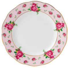 Royal Albert New Country Roses Pink Formal Vintage Bread & Butter Plate, 6.3""