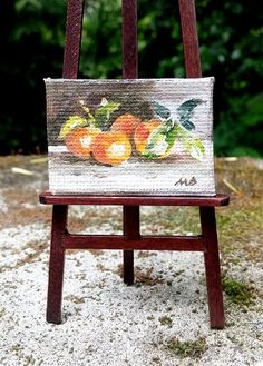 Original dollhouse oil painting Miniature by DewdropMinis on Etsy Fruit Painting, Mini Canvas, Mini Paintings, Garden Accessories, Dollhouse Furniture, Dollhouse Miniatures, Wicker, Pottery, Hand Painted