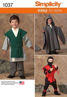 Simplicity 1037 - Boy's Easy To Sew Costumes | Space Warrior/SW Wizard/LoTR/Hobbit, Ninja/Mortal Combat