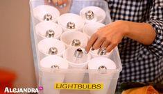 Organization Ideas garage How to Organize Light Bulbs Basement Storage Tip: Keep light bulbs organized & damage free with this DIY bulb organizer Garage Organization Tips, Diy Garage Storage, Household Organization, Craft Storage, Basement Storage, Organized Basement, Organizing Tips, Light Bulb Storage, Diy Storage Containers