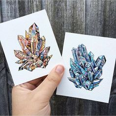Ink and watercolour minerals by the talented Emma Black aka @googoogilly [shared by @georgina_kreutzer] by artfido