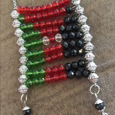 Palestine flag made with beads decorative item Palestine Flag, Decorative Items, Beaded Bracelets, Beads, Beading, Decorative Objects, Pearl Bracelets, Bead, Pearls