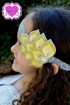 Felt Petal Headband Yellow and Gray by PACraftsfromtheHeart