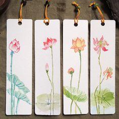 Lotus Original Painting Bookmarks set of 4 by PadmaZenArt on Etsy