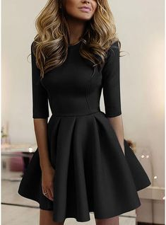 Prom Dress For Teens, 2019 Homecoming Dresses Scoop Mid-Length Sleeve Satin A Line Short/Mini, cheap prom dresses, beautiful dresses for prom. Best prom gowns online to make you the spotlight for special occasions. Trendy Dresses, Elegant Dresses, Cute Dresses, Beautiful Dresses, Casual Dresses, Women's Dresses, Summer Dresses, Wedding Dresses, Long Dresses