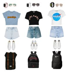 """""""Anna"""" by daniellesngn on Polyvore featuring RE/DONE, Topshop, GRLFRND, River Island, Vans, adidas Originals, Converse, Givenchy, Herschel and NIKE"""