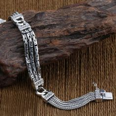 Chain Men Fashion Men's Sterling Silver Byzantine and Wheat Chain Bracelet - Silver Chain For Men, Mens Silver Jewelry, Gold Chains For Men, Mens Silver Necklace, Sterling Silver Bracelets, Silver Chains, Bracelets For Men, Byzantine, Undercut Pixie