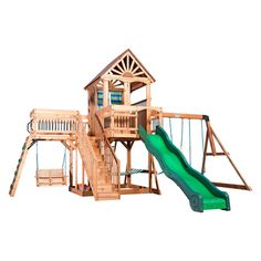 Create an outdoor escape right in your backyard with this Caribbean swing set from Backyard Discovery. A large window and curtains give it a cabana look and a staircase leads to an upper deck and balcony Backyard Swing Sets, Backyard Playset, Backyard For Kids, Kids Playset Outdoor, Kids Backyard Playground, Kids Playsets, Outdoor Swing Sets, Kids Yard, Backyard Playhouse