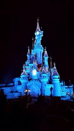 Sleeping beauty's castle at night