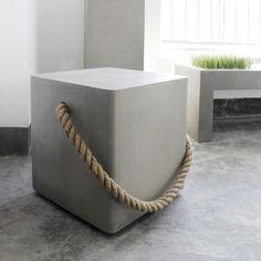 Lyon Beton Concrete Soft Edge Stool With Wheels & Rope Concrete Stool, Concrete Furniture, Concrete Cement, Concrete Crafts, Concrete Projects, Polished Concrete, Pallet Furniture, Garden Furniture, Beton Design