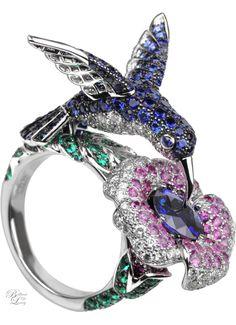 Brilliant Luxury * Boucheron Paris ~ Hopi, The Hummingbird Ring Blue Sapphire Animal Jewelry, Jewelry Art, Antique Jewelry, Fine Jewelry, Jewelry Design, Fashion Jewelry, Jewellery Uk, Silver Jewelry, Jewlery