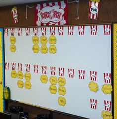 """check out this darling popcorn word-wall! it would be perfect for a circus classroom. or any classroom! remember, popcorn words are common words that """"POP!"""" up as you read and write! Popcorn Theme Classroom, Circus Theme Classroom, 3rd Grade Classroom, Classroom Walls, New Classroom, Classroom Displays, Kindergarten Classroom, Classroom Ideas, Classroom Organization"""