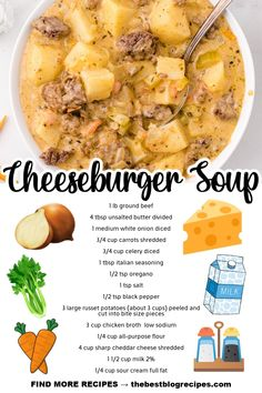 This Cheeseburger Soup is the hearty recipe you need to warm your belly on a cold winter night. Not only is this soup packed full of cheesy goodness, but it's also full of flavor that your friends and family will love! Wrap Recipes, Paleo Recipes, Crockpot Recipes, Amazing Food Art, Slow Cooker Turkey, Cheeseburger Soup, Chowder Recipes, Wrap Sandwiches, Soups And Stews