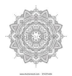 Hand-drawn mandala, floral and tribal circular ornament. Pattern in black and white. Adult coloring book page, tattoo design. Vector illustration. Zendoodle. Vector mandala.