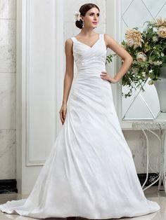 vestido de novia de tafetán una línea de cuello en V tren capilla (631162) | LightInTheBox