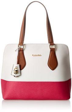 Calvin Klein Modena Saffiano Shopper Travel Tote,White/Punch,One Size