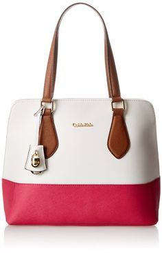 Calvin Klein Modena Saffiano Shopper Travel Tote,White/Punch,One Size
