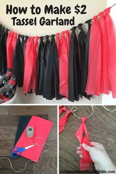 How to Make 2 Tassel Garland 23 Graduation Open Houses, 8th Grade Graduation, Kindergarten Graduation, Graduation Party Decor, Grad Parties, Graduation Ideas, Graduation Centerpiece, Cheap Party Decorations, Themed Birthday Parties