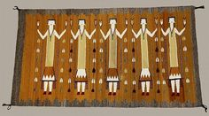 Hand Woven Rug : Hand Woven Navajo Yei Rug in Gold and Gray #20
