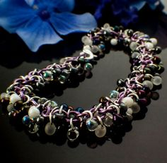 Shaggy Beaded #Chainmaille Bracelet Kit - Lavender with Apparition Mix Miyuki Glass Beads
