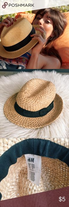 H&M || Straw Fedora Hat with Black Ribbon Accent Straw hat, great for spring break.  It has never been worn, it's just been sitting in my closet! H&M Accessories Hats