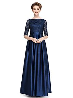 Lanting+Bride®+A-line+Mother+of+the+Bride+Dress+Floor-length+Half+Sleeve+Lace+/+Stretch+Satin+with+Beading+/+Sequins+–+EUR+€+308.70