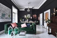 Heather Nette King lounge room painted in Dulux Domino Living Room Inspiration, Interior Inspiration, Home Living Room, Living Room Decor, Interior Stylist, Interior Design, Warm Color Schemes, Black Lounge, Paint Shades