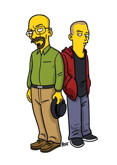 Simpsonized Walter White and Jesse Pinkman from Breaking Bad. I make some doodle about The Simpsons, you can watch more here: [link] (I'll try to draw q. Simpsonized Walter White and Jesse Pinkman Jesse Pinkman, Simpsons Characters, Simpsons Art, Movie Characters, Simpsons Funny, Walter White, Bryan Cranston, Breaking Bad Shirt, Breakin Bad