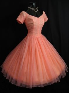 Vintage 1950's 50s Coral Peach Pink Ruched Chiffon Party Prom Wedding Dress Gown   eBay
