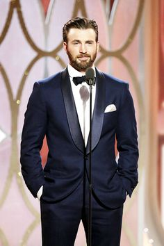 """  Chris Evans speaks onstage during the 73rd Annual Golden Globe Awards at The Beverly Hilton Hotel on January 10, 2016 in Beverly Hills, California. """