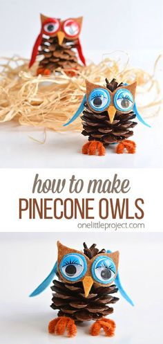 How to Make Cute Pinecone Owls These pinecone owls are SO CUTE! And they're really easy to make! This is such a fun fall and winter craft idea. Wouldn't they make awesome Christmas ornaments? Such a great craft for kids, tweens and even adults! Kids Crafts, Easy Fall Crafts, Crafts For Teens To Make, Holiday Crafts For Kids, Owl Crafts, Spring Crafts, Diy And Crafts, Christmas Crafts, Christmas Ornaments