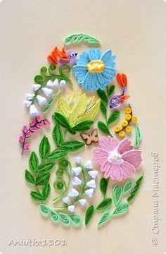 Картина панно рисунок Пасха Квиллинг Пасхальное яичко Бумажные полосы фото 1