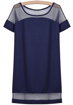 To find out about the Blue Contrast Sheer Mesh Yoke Loose Dress at SHEIN, part of our latest Dresses ready to shop online today! College Wear, Seattle Fashion, Latest Dress, I Love Fashion, Dress P, Autumn Winter Fashion, Your Style, Summer Outfits, Style Sheet