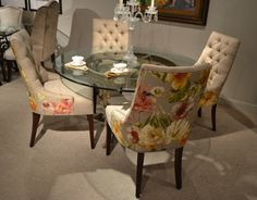 Designmaster Saybrook Side Chairs oatmeal solid texture with watercolor floral print #hpmkt Designmaster Furniture
