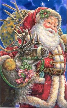 Santa and deer
