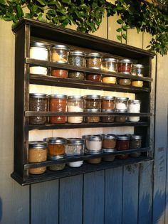 Distressed Curio Shelf Spice Rack With Beadboard Back